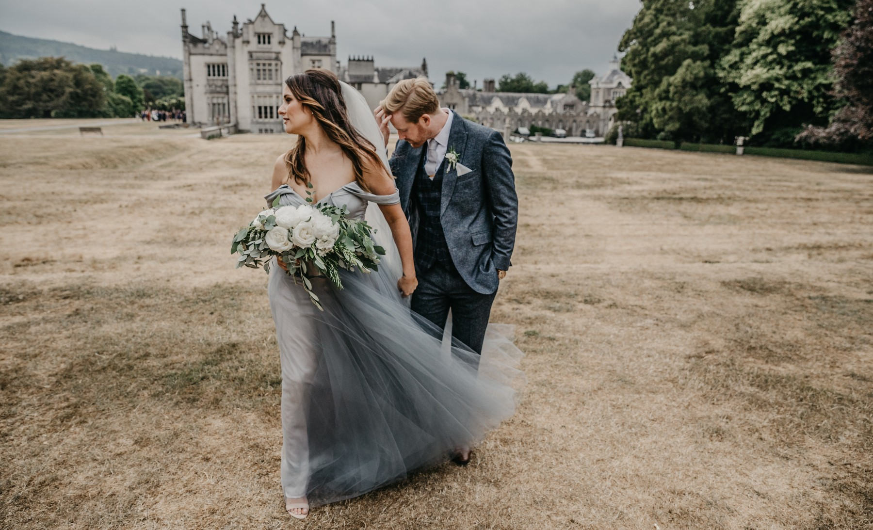 Bride and Groom in front of Kilruddery in Ireland.